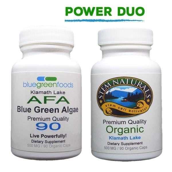 power duo afa blue green algae stem cell activator klamath lake organic food supplement
