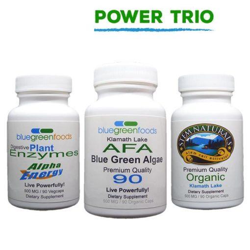 power trio afa blue green algae stem cell activator digestive enzymes klamath lake organic food supplement
