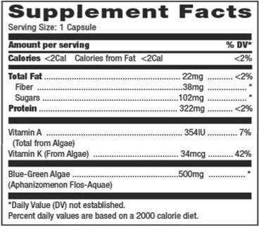 afa blue green algae sup facts contents